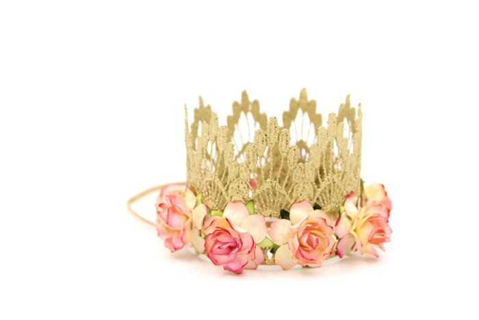 GOLD MINI PEACH FLORAL CROWN, CROWNS - itsmypartykids