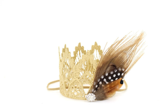 Feather Princess Gold Mini Crown, CROWNS - itsmypartykids