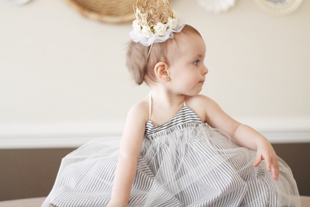 BALLERINA FLORAL TULLE MINI CROWN - IVORY, CROWNS - itsmypartykids