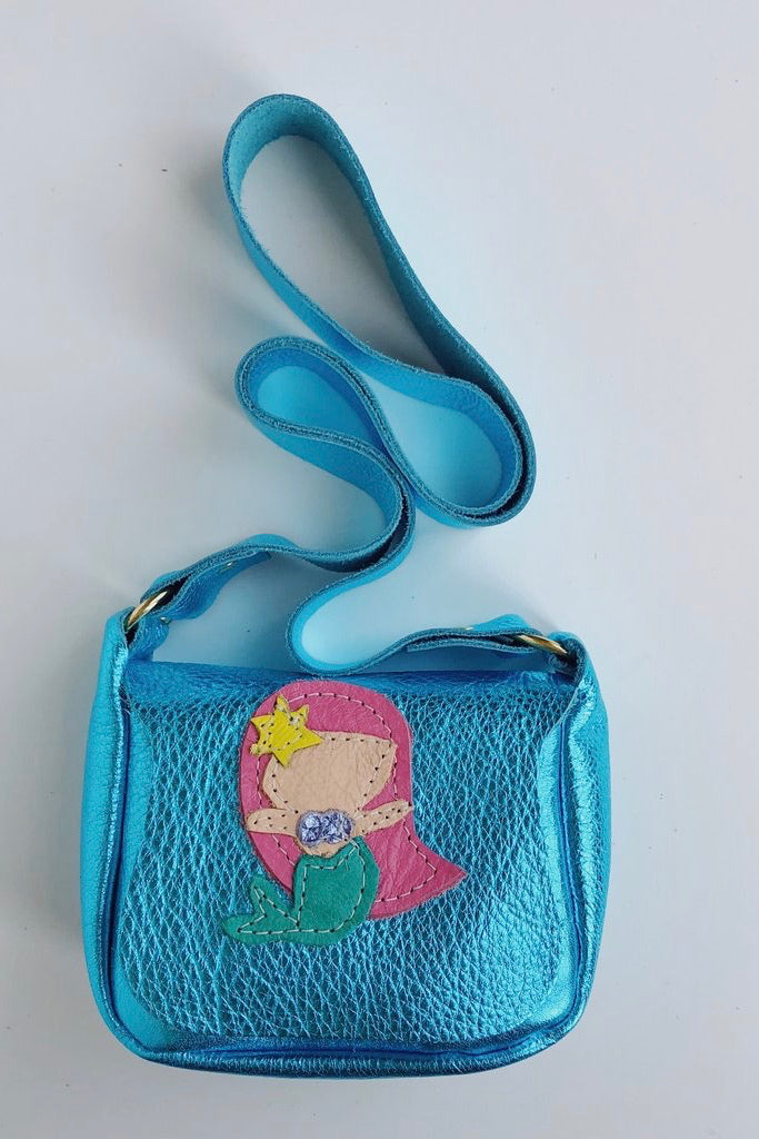 "METALLIC LEATHER MERMAID SATCHEL - ""TESSA"" PINK HAIR, PURSE - itsmypartykids"