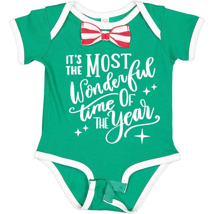 its-the-most-wonderful-time-of-the-year-green-red-striped-holiday-christmas-bowtie-baby-onesie-It's My Party Kids Boutique