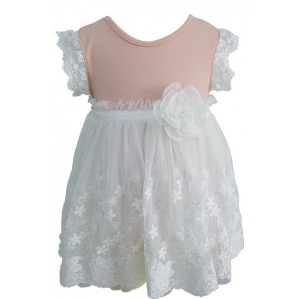 Dusty Pink and Ivory Lace Ruffle Dress, Onesie - itsmypartykids