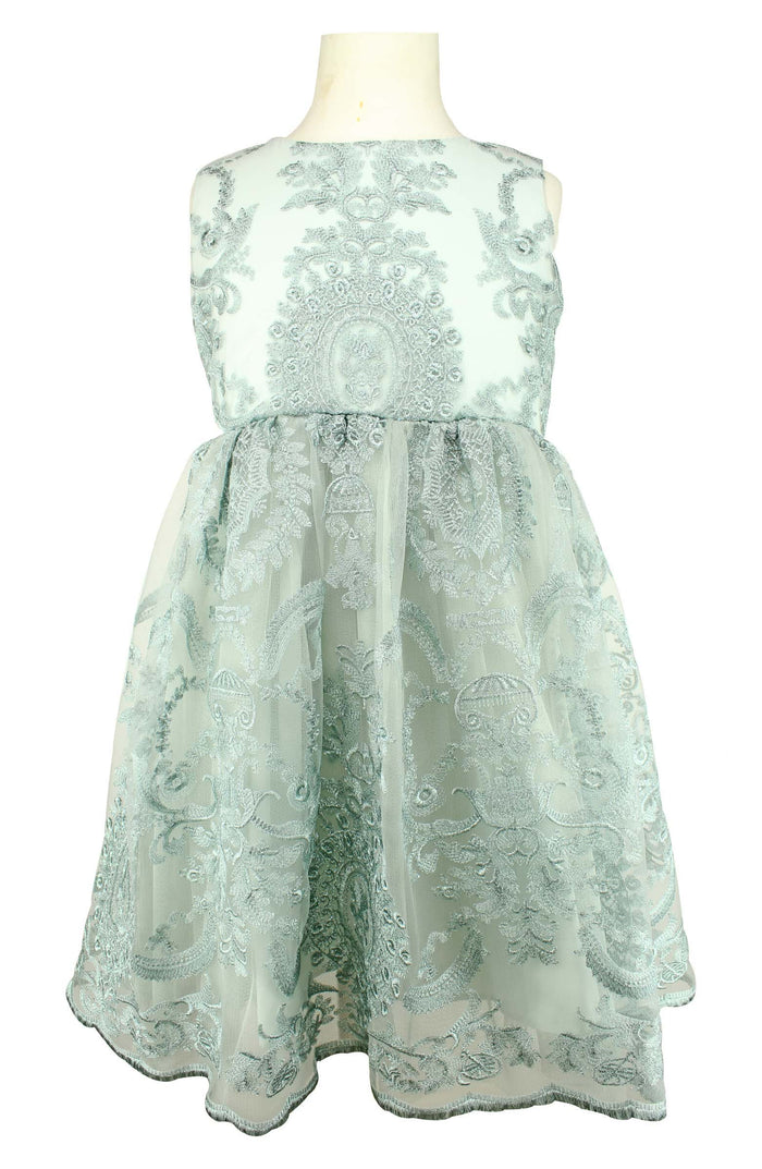 Dusty Mint Embroidered Dress, Onesie - itsmypartykids