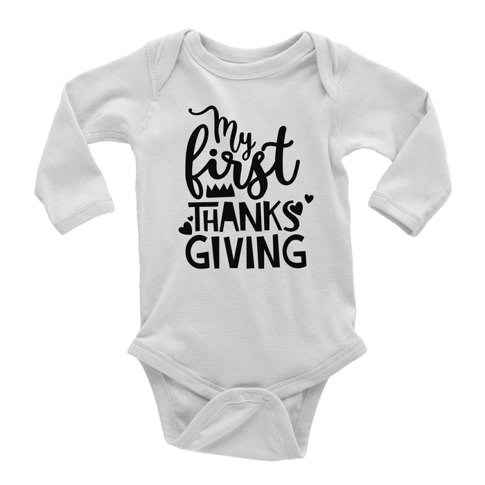 my-first-thanksgiving-long-sleeve-baby-onesie-white-It's My Party Kids Boutique