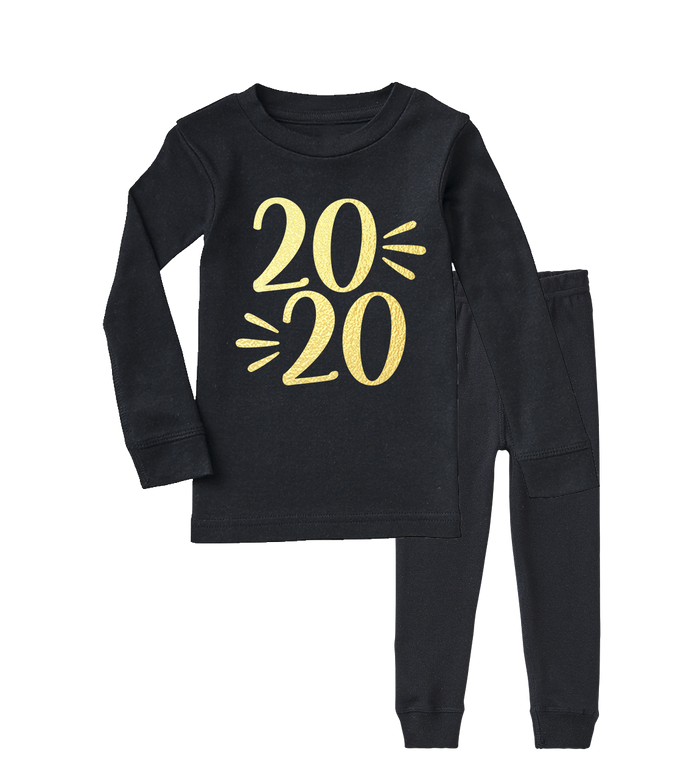 black-and-gold-new-years-eve-new-year-2020-kids-pajama-set-It's My Party Kids Boutique