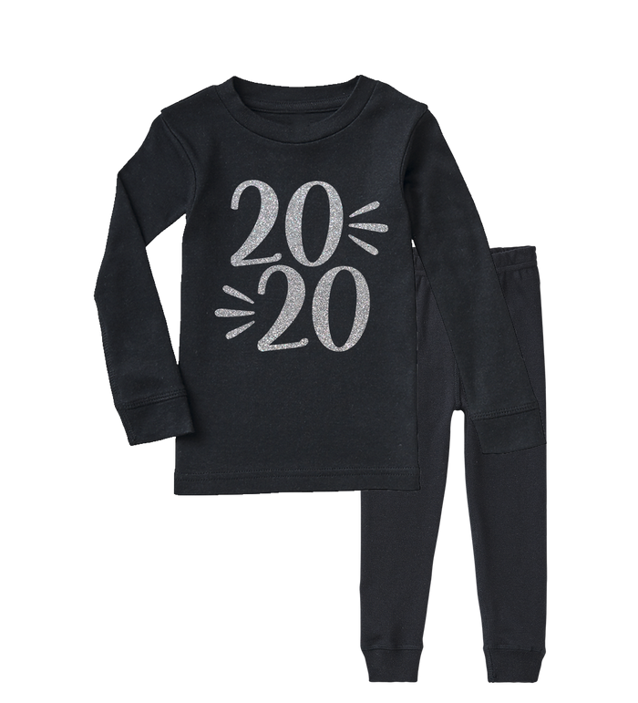 Black-and-silver-new-years-eve-new-year-2020-kids-holiday-pajama-set-It's My Party Kids Boutique