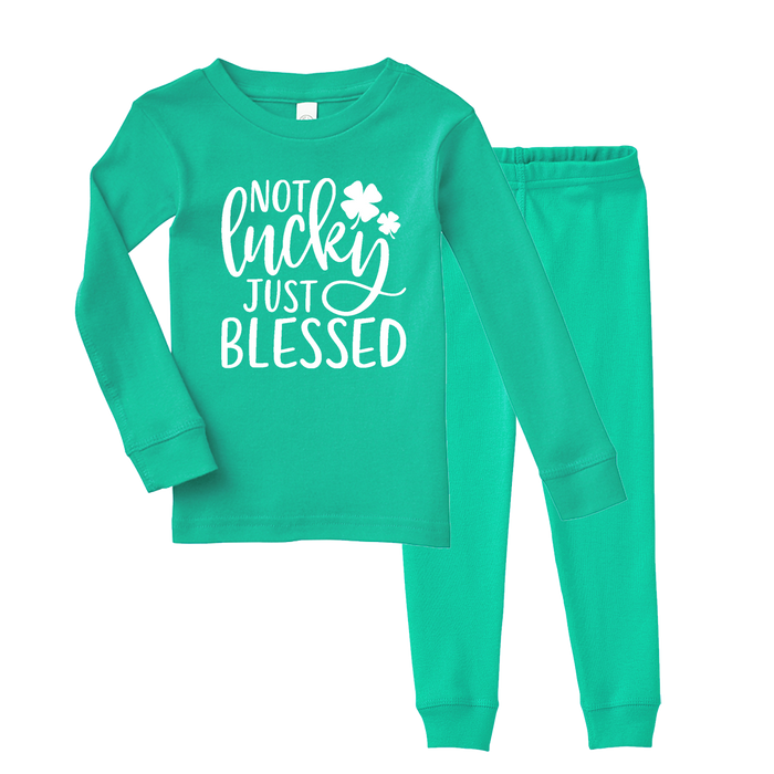 not-lucky-just-blessed-st-patricks-day-kids-pajama-set-its my party kids boutique