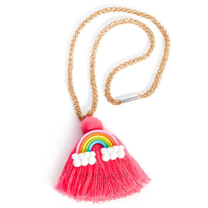 RAINBOW FRINGE NECKLACE - NEON PINK, ACCESSORIES - itsmypartykids