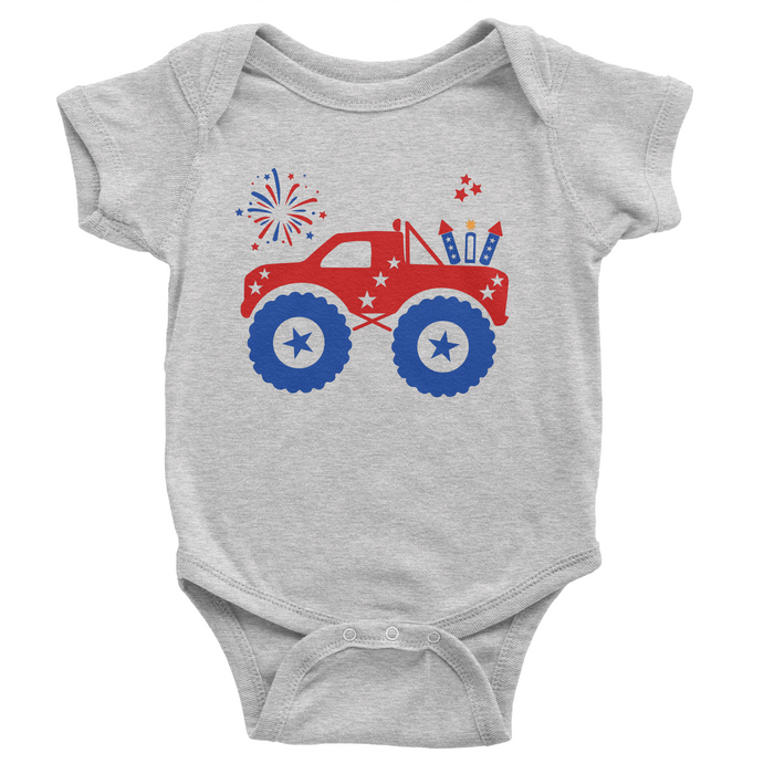 Patriotic Monster Truck - Grey Onesie - 4th of July - USA - Flag, TEES - itsmypartykids