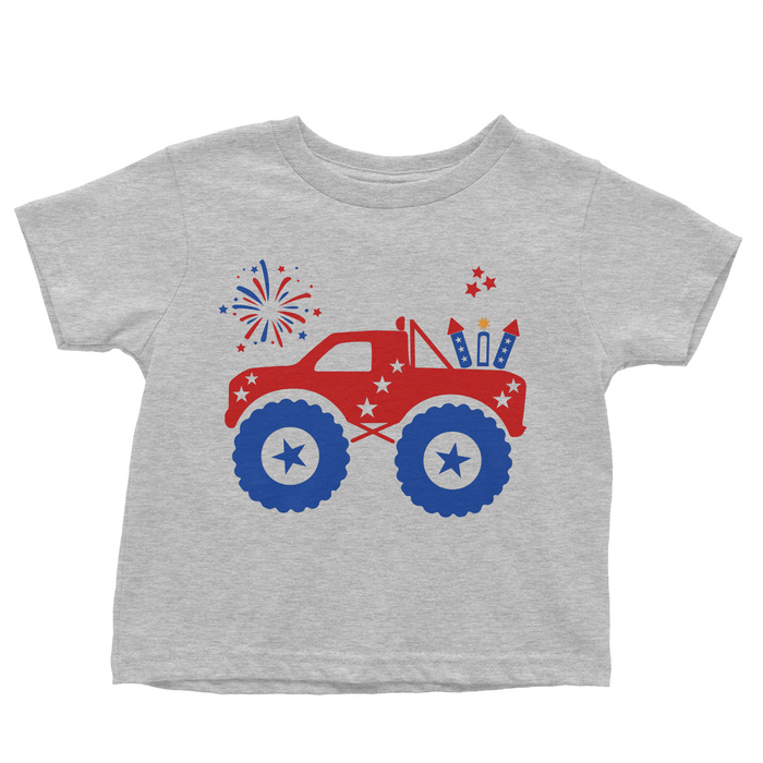 Patriotic Monster Truck - Grey T-shirt - 4th of July - USA - Flag, TEES - itsmypartykids