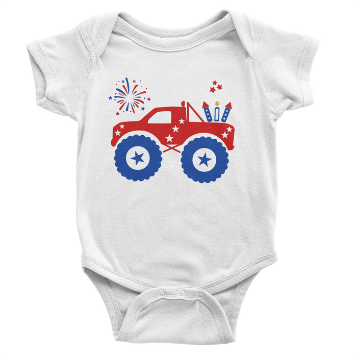 Patriotic Monster Truck - White Onesie - 4th of July - USA - Flag, TEES - itsmypartykids