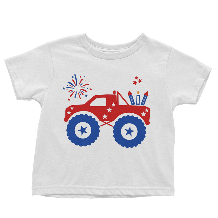 Patriotic Monster Truck - White T-shirt - 4th of July - USA - Flag, TEES - itsmypartykids