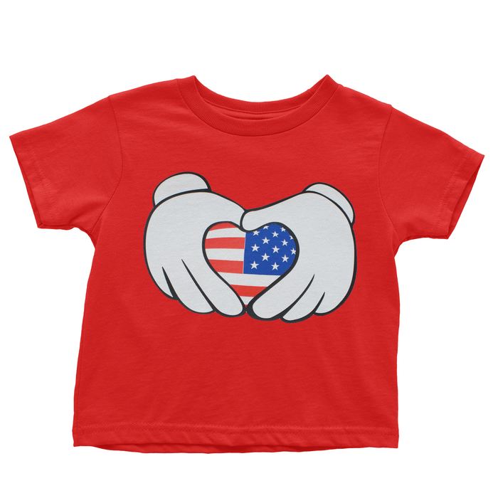 Mouse Patriotic Heart - Red T-shirt - 4th of July - USA - Flag, TEES - itsmypartykids