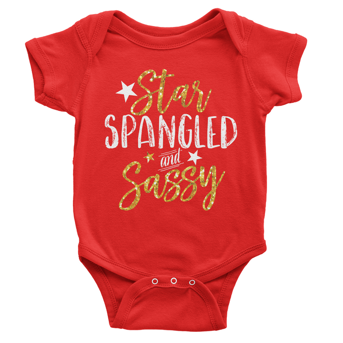 Star Spangled and Sassy Patriotic Glitter - Red Onesie - 4th of July - USA - Flag, TEES - itsmypartykids