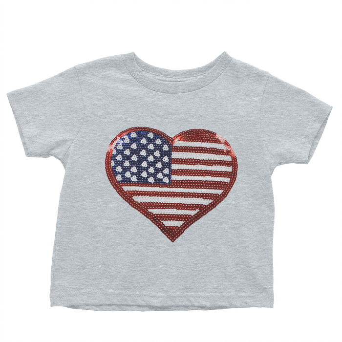 Sequin Patriotic Heart - Grey T-shirt - 4th of July - USA - Flag, TEES - itsmypartykids