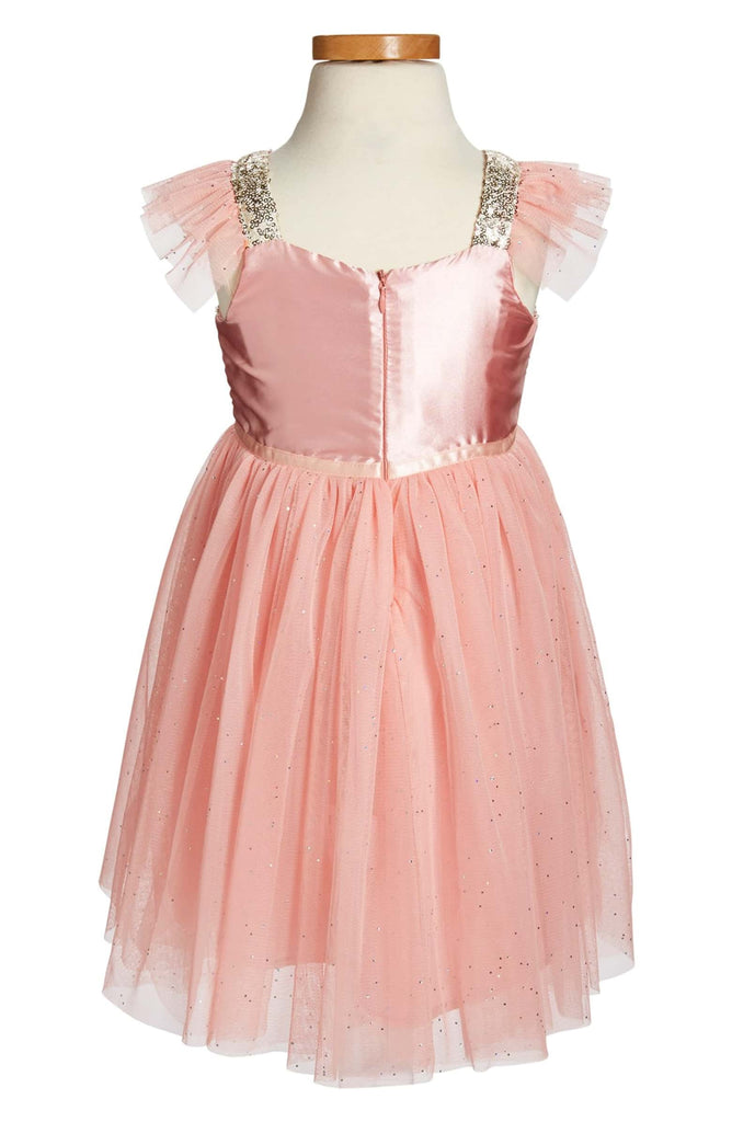Peach and Gold Sequin and Tulle Dress, Onesie - itsmypartykids