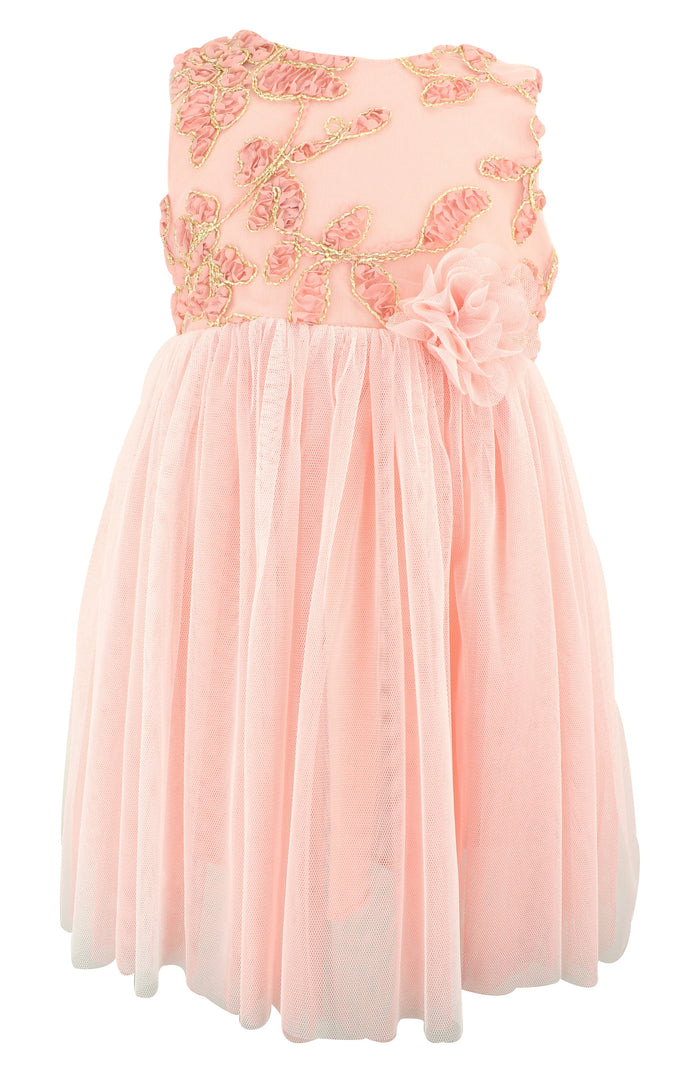 Peach Floral Embellished Tulle Dress, Onesie - itsmypartykids