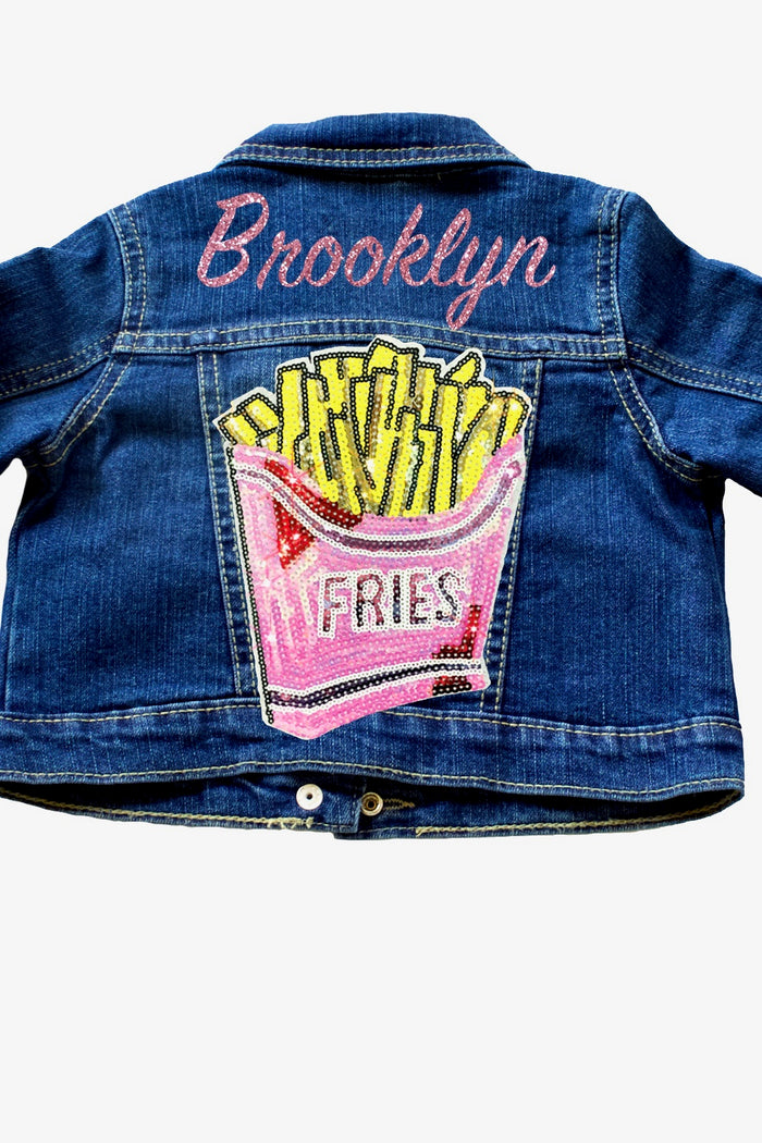 Personalized-glitter-french-fry-sequin-name-customized-indigo-toddler-denim-jacket-It's My Party Kids Boutique