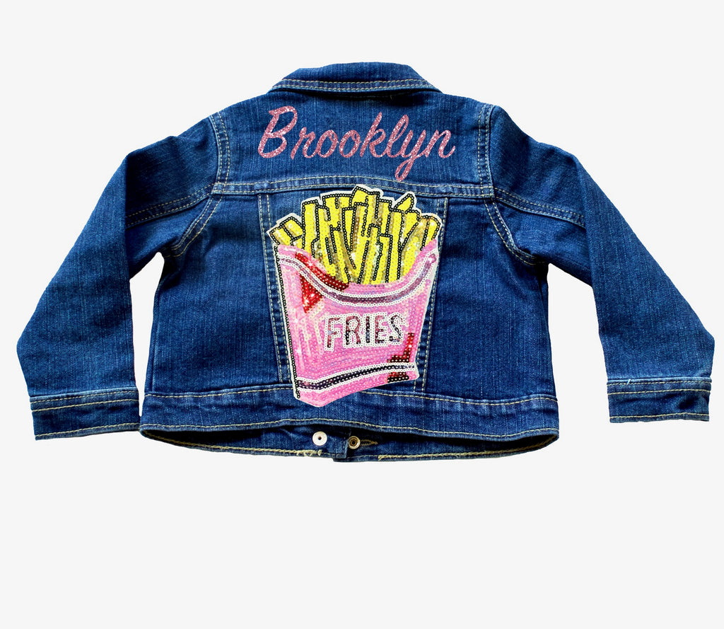 Personalized-glitter-french-fry-sequin-name-customized-indigo-toddler-denim-jacket-6-It's My Party Kids Boutique