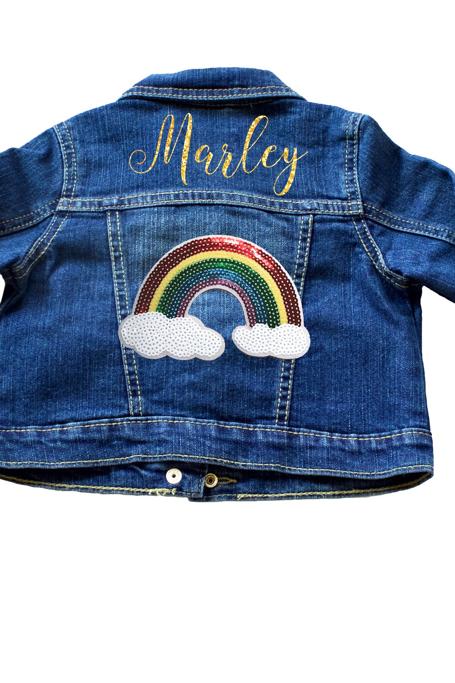 Personalized-rainbow-sequin-patch-glitter-customized-denim-baby-toddler-jacket-It's My Party Kids Boutique
