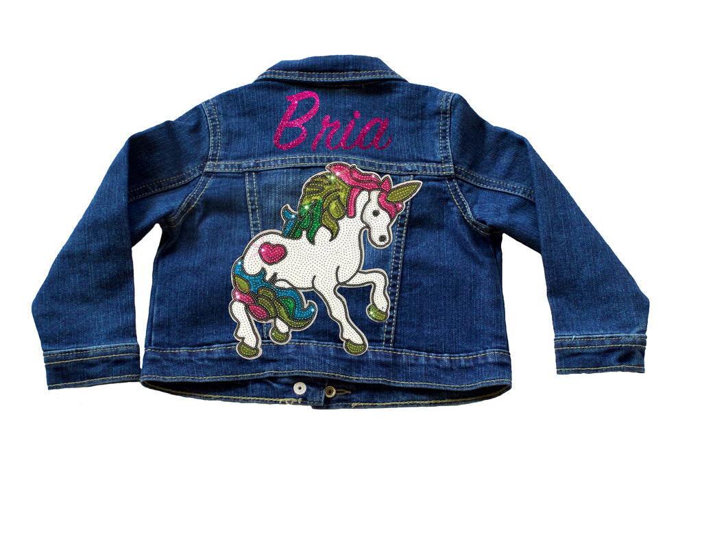 Personalized Glitter Unicorn Sequin Toddler Denim Jacket - Indigo