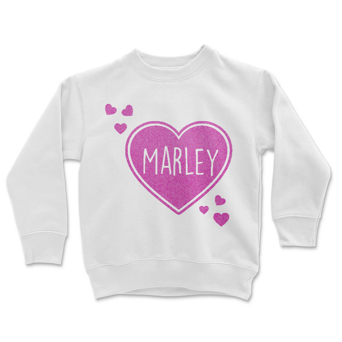 valentine-pink-flocked-personalized-heart-childrens-sweatshirt-white-It's My Party Kids Boutique