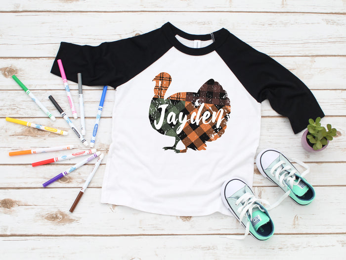 Personalized Turkey Thanksgiving Raglan Tee