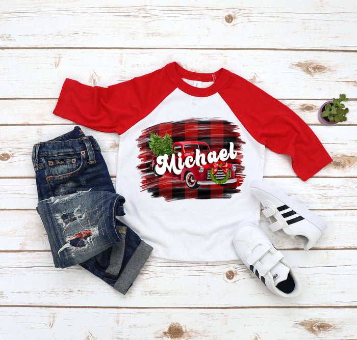 Holiday Personalized Vintage Truck Raglan Tee