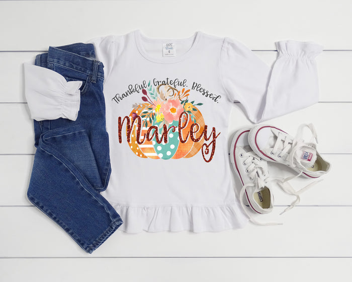 Thankful Pumpkin Personalized Glitter Ruffle Tee