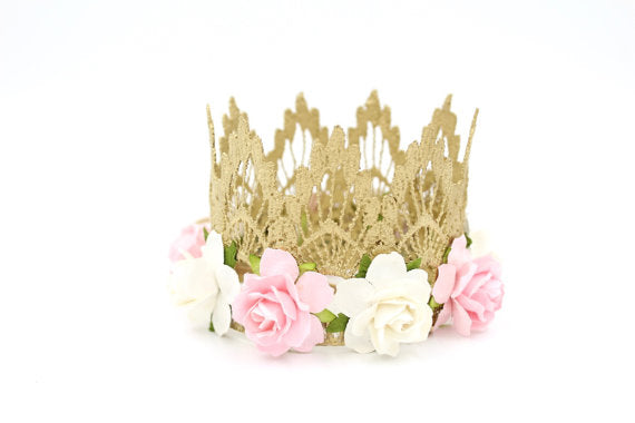 BETHANY FLORAL LACE CROWN - PINK/WHITE, CROWNS - itsmypartykids