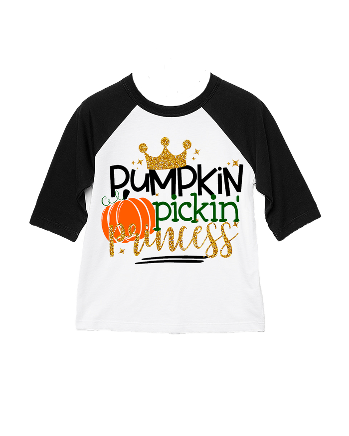 Fall Harvest Pumpkin Picking Princess Glitter Kid's Raglan T-Shirt or Baby Onesie - Black and White