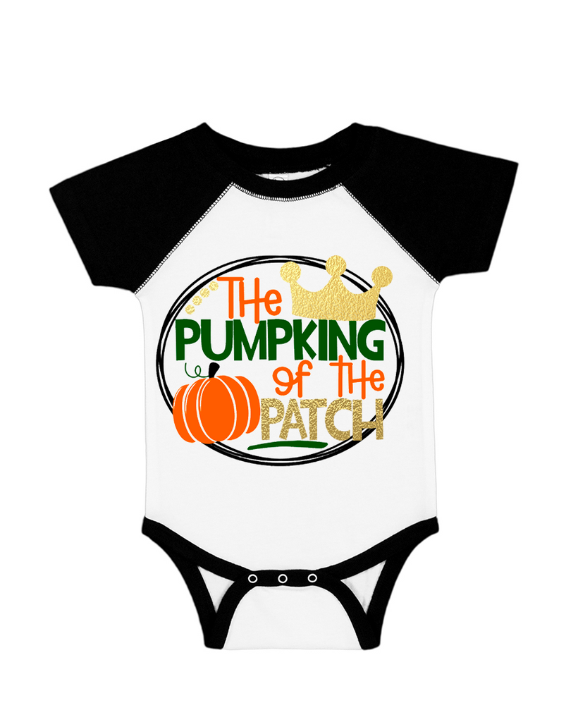 Pumpkin King of the Patch Metallic Kid's Raglan T-Shirt or Baby Onesie - Black and White