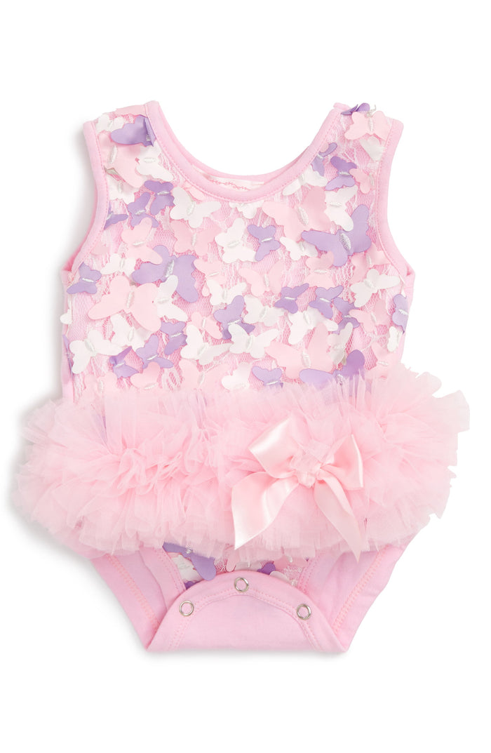 Pink and White Butterfly Embellished Tutu Onesie, Onesie - itsmypartykids