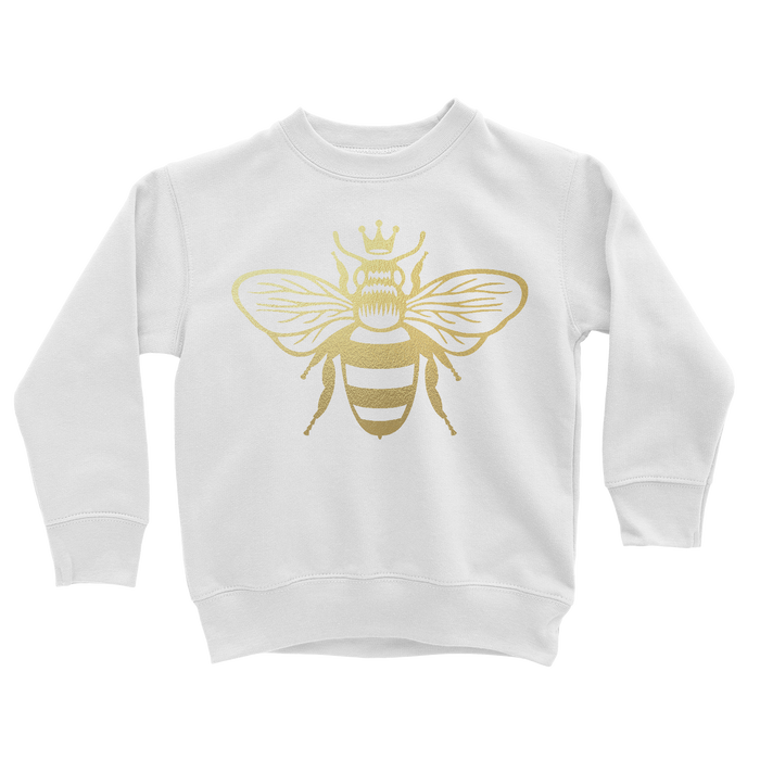 kids-sweatshirt-metallic-gold-queen-bee-front-its my party kids boutique