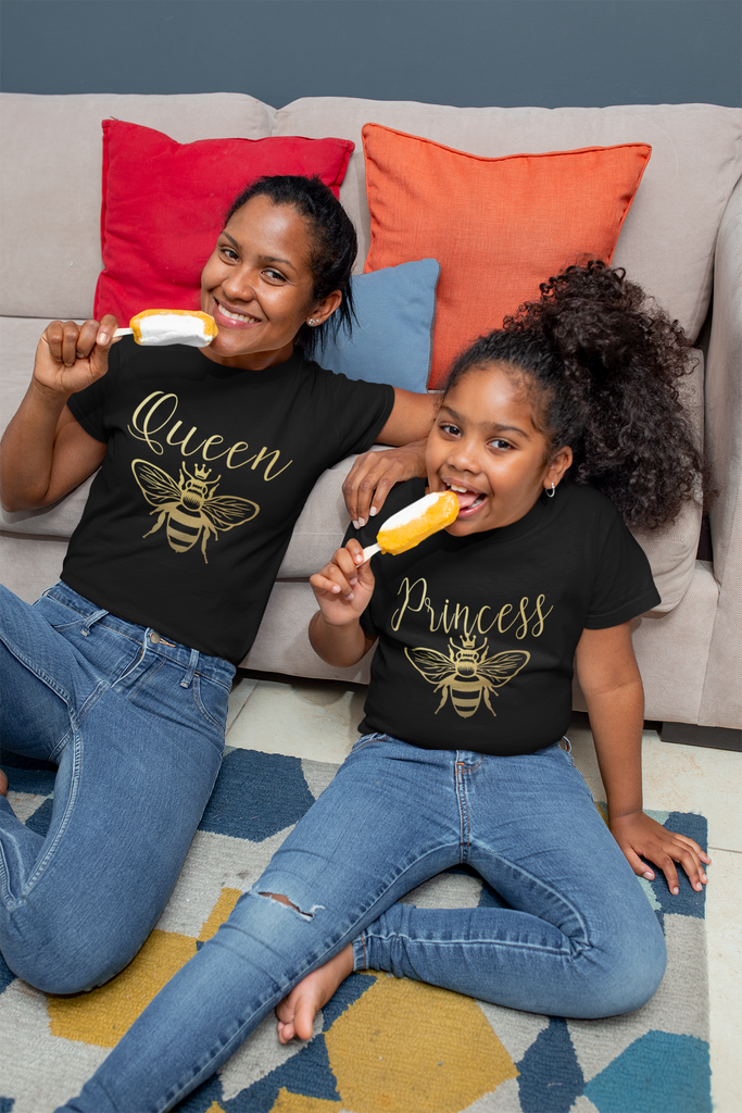 princess-bee-gold-black-mommy-and-me-mothers-day-tee-shirt-4-its my party kids boutique