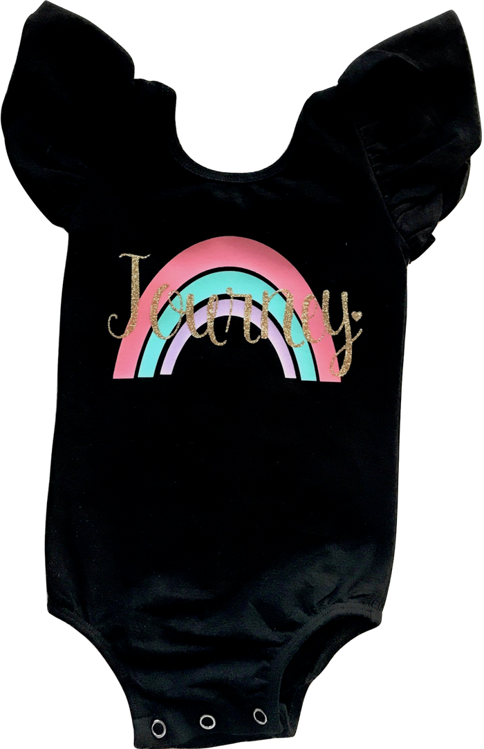 FLUTTER SLEEVE PERSONALIZED RAINBOW LEOTARD - BLACK, TEES - itsmypartykids