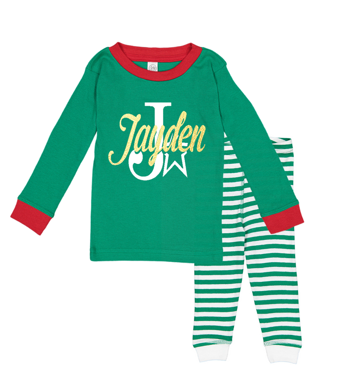Red-and-Green-Personalized-Name-Monogram-Holiday-Childrens-Pajama-Set-Striped-Gold-Metallic-It's My Party Kids Boutique