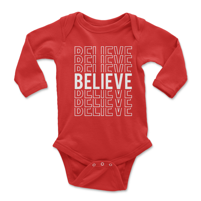 red-holiday-word-baby-onesie-glitter-long-sleeve-It's My Party Kids Boutique