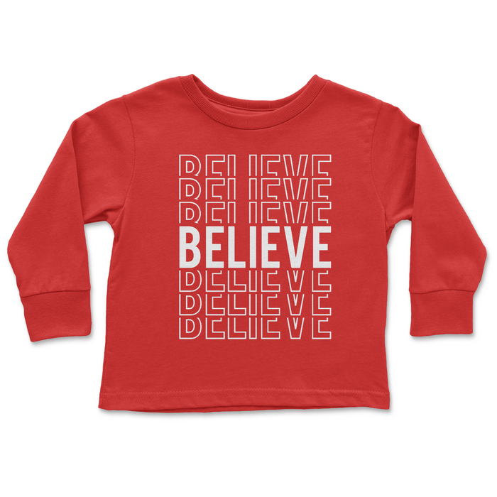 Red Long Sleeve Holiday Word White or Glitter Kids Tee Shirt - Nice | Believe | Noel | Joyful | Jolly | or Merry
