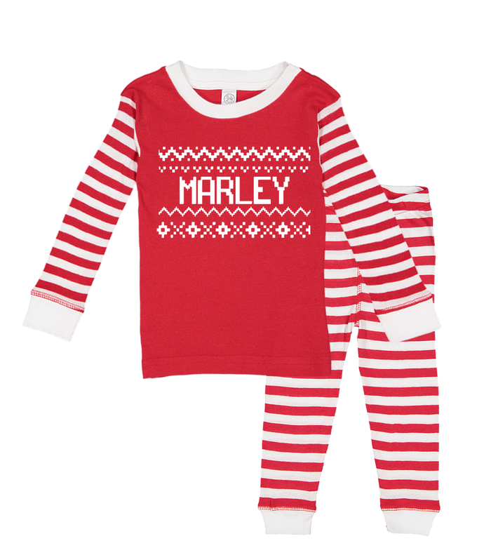 Red-and-white-stripe-holiday-christmas-kids-personalized-name-pajama-set-It's My Party Kids Boutique