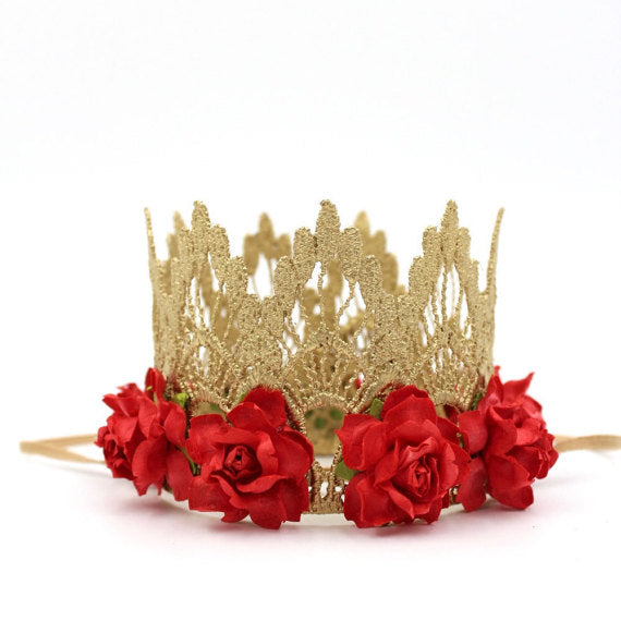 Lace Mini Floral Crown - RED, CROWNS - itsmypartykids