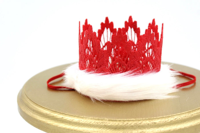 Santa Baby Mini Lace Crown - Red, CROWNS - itsmypartykids