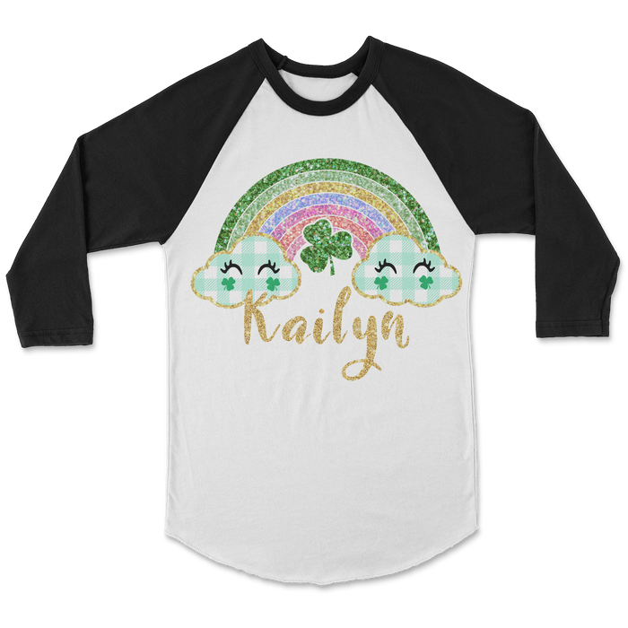 st-patricks-day-glitter-rainbow-personalized-kids-raglan-shirt-its my party kids boutique