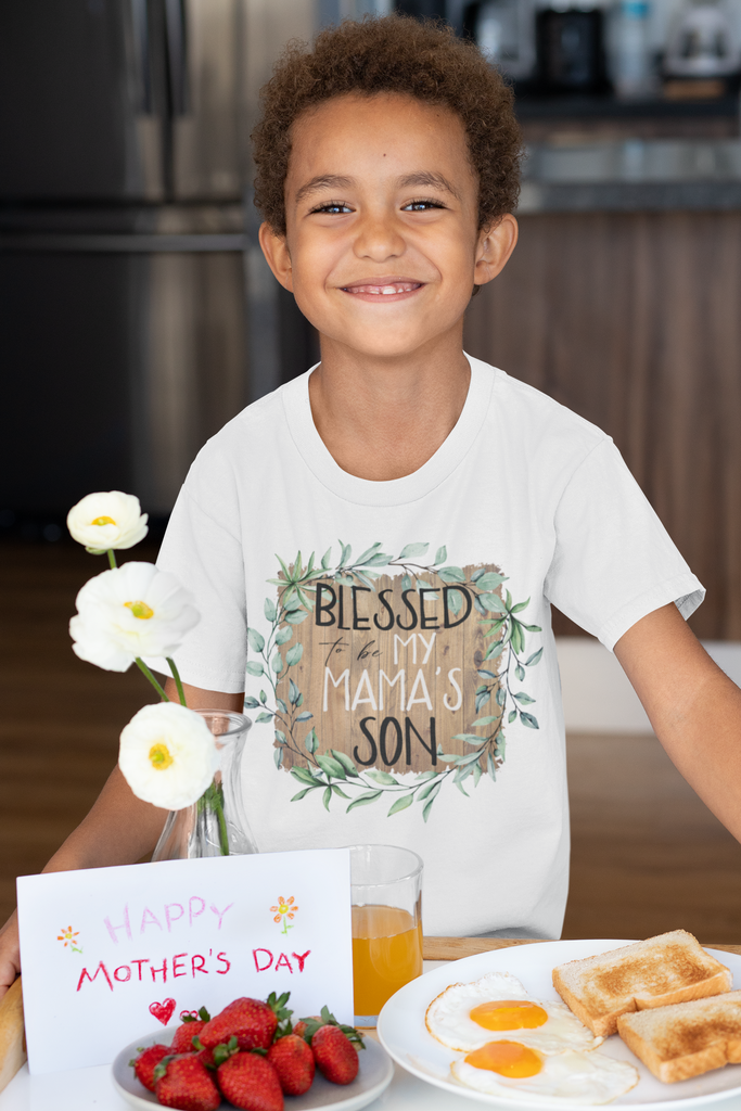 boy-wearing-blessed-to-be-my-mamas-son-mothers-day-tee-shirt-its my party kids boutique