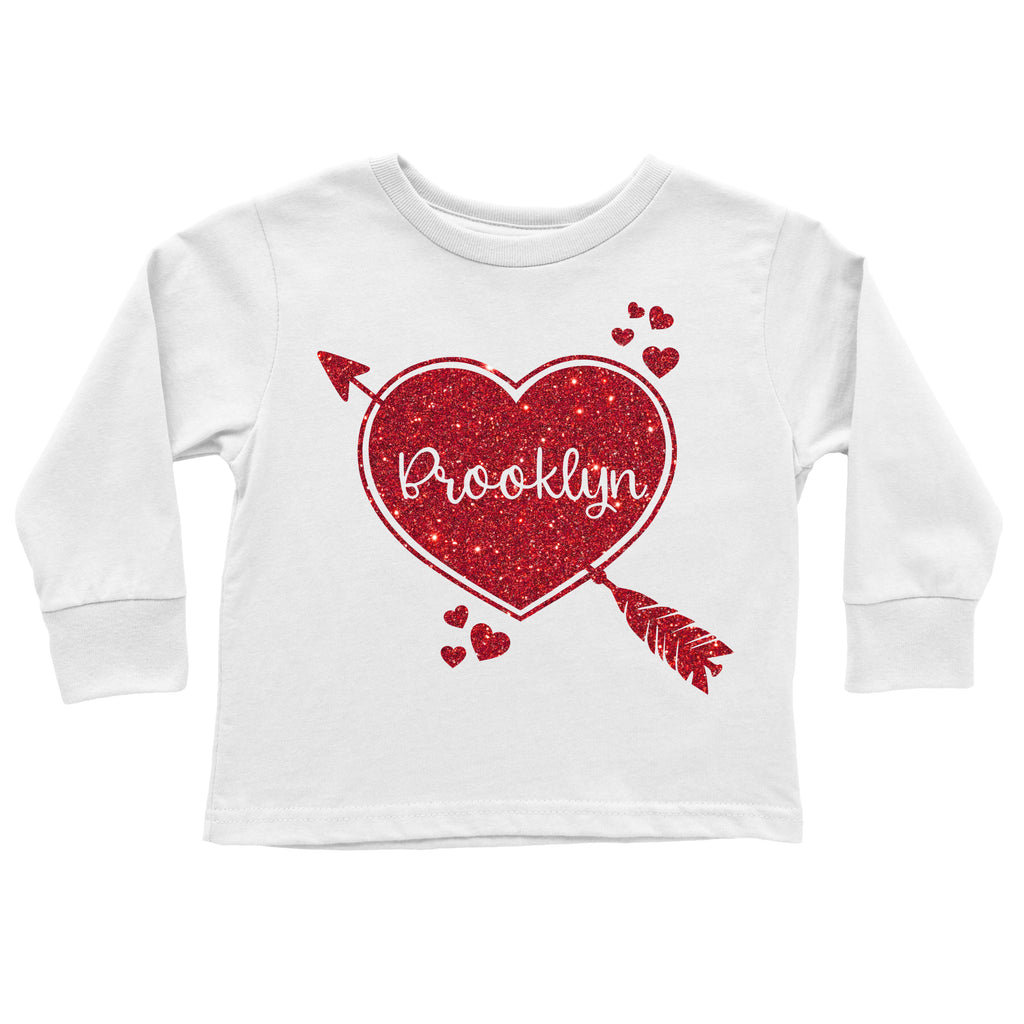 Personalized Cupid Heart Glitter Tee - Red, TEES - itsmypartykids