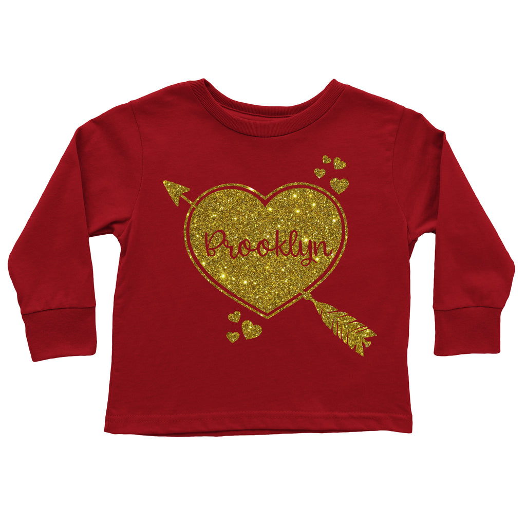 Personalized Cupid Heart Gold Glitter Tee - Red, TEES - itsmypartykids