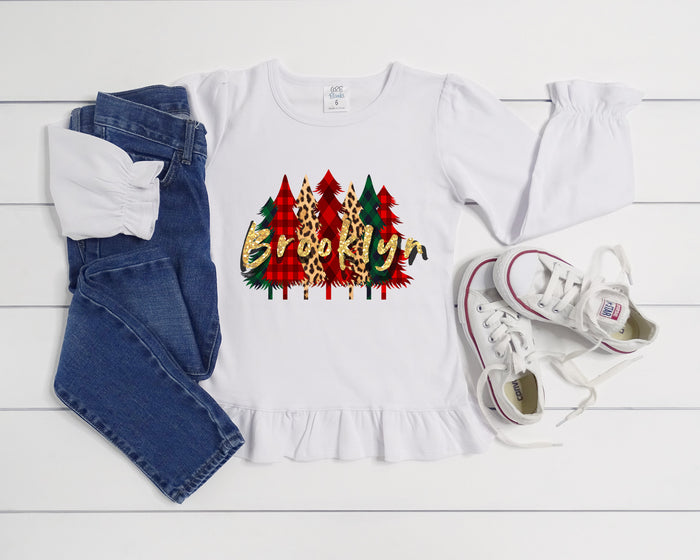 personalized-name-christmas-tree-gold-glitter-ruffle-tee-shirt