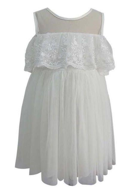 Ivory Lace Off The Shoulder Tulle Dress, Onesie - itsmypartykids
