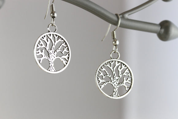 Tree of Life Rhodium Earrings