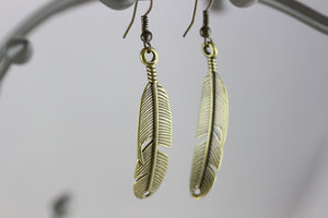 Feather Brass Earrings